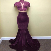 2017 Hot Cap Sleeves Black Purple Velvet Prom Dresses Mermaid High Neck Lace Appliques Long Train Evening Vestidos Vestido de celebridade árabe