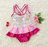Everweekend Girls Sweet Love Print Ruffles Swimwear 1pcs Sum...
