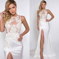Sexy Thigh High Split Evening Dresses 2017 Illusion Bodices ...