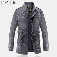 Оптово-Модная куртка с капюшоном для мужчин с воротником Slim Fit L-3XL Стендовый воротник с длинным флисовым пальто Зимний цвет кофе K275