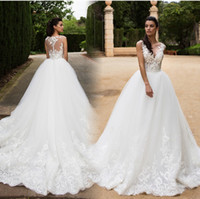 Старинные свадебные платья 2017 года Sheer V-образным вырезом без рукавов A-Line Часовня Поезд Кнопка Назад Кружева Аппликация Тюль Свадебные платья Платье де Noiva