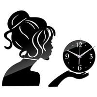 Wholesale- 2016 Hot Sale New 3d Diy Acrylic Mirror Clock Clo...
