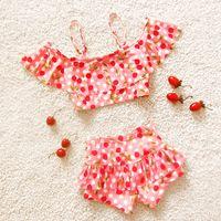 Everweekend Girls Cherry Print Sweet Summer Swim Suits Tops ...