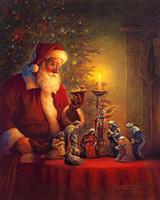 Рамку Дух Рождества Грег Олсен, Pure расписанную Рождество Портрет Искусство Картина маслом на размеры Canvas.Multi, SKE