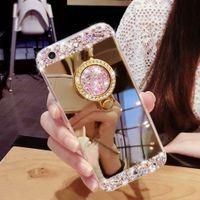 Pour iPhone 5S 6 6S 7 Plus Samsung S6 S7 bord Luxe fait à la main Bling Diamant Titulaire Holder Case Avec Stand Kickstand Mirror Phone Case