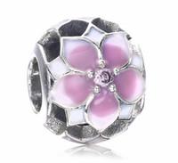 2017 Nouveau Jour de la Mère Blanc Rose Fleur de Lotus Fleur ronde Cristal Fit Pour Pandora Bracelet DIY Bead Charm 925 Bijoux en argent sterling