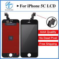 Pour l'écran LCD tactile de l'iPhone 5C Qualité d'affichage AAA Pas de pixel mort Pixel Montage complet avec colle froide Livraison gratuite DHL
