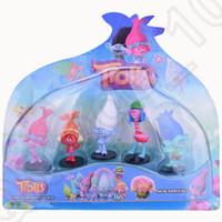 Тролли Мини Мультфильм Цифры Отрасль Пластиковые куклы игрушки детей игрушки Фигурки игрушки Детские подарки LJJO1061