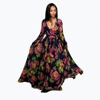 Floor- length Dress Black Floral Pattern Dresses Deep V- Neck ...