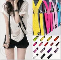 Высокое качество цвета конфеты Unisex регулируемый штаны Y-назад Suspender Brace Упругие Clip-на поясе Регулируемые подтяжки подтяжки CCA5533 1500pcs