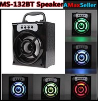 Original MS-132BT mini Bluetooth sans fil Bluetooth Square Speaker Support FM Radio LED Shinning TF / Micro SD Music Music Lecture en gros