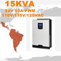 Горячее надувательство солнечного инвертора 15Kva 12Kw с инвертора сетки 24V до 120V 50A PWM Чисто инвертор синуса инвертора синуса гибридный 60A Заряжатель AC