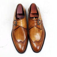 Men Dress shoes Oxford shoes Monk shoesCustom Handmade shoes...