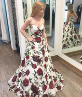 Sweetheart Floral Print A Line Prom Dress 2017 Satin Straple...