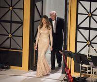 Мелания Трамп +2017 Sequined Шампанское знаменитости платья Русалка Вырез Crew иллюзией с длинными рукавами Длина пола Вечерние платья