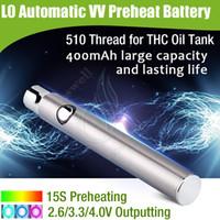 Batterie Original L0 400mAh Régulation automatique de tension variable préchauffage rapide 510 CBD THC huile BUD CO2 CE3 Réservoir vapeur stylo e cig Cartouche DHL