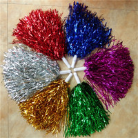 40g Cheerleading Pom Poms Cheering Hand Flowers Ball Pompom Metallic Christmas Wedding Party Festival Танцевальные реквизиты