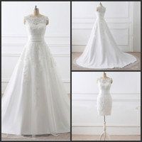 2017 мантий белый Vintage Lace бальное платье свадебные платья из двух частей A-Line Свадебные платья Аппликация Кружева Свадебные