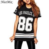 Оптово-NiceMix лето 2016 марка Новая мода женщины Крупногабаритные футболки печатными буквами Los Angeles Номер 86 Tops колледж Ветер тройники