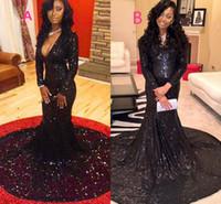 Sexy Deep V Шея Русалка блестками черный Длинные элегантные платья выпускного вечера 2017 молнии вверх суда поезд Pageant Платья для женщин