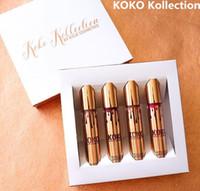 КОКО Kollection золота на день рождения ограниченный макияж 4шт / комплект KYLIE Liquid матовые помады Kollection Кайли косметика блеск для губ DHL Free