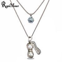 RAVIMOUR Peanut Women Necklace Simulated Pearl Jewelry Fashi...
