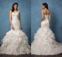 Выполненные на заказ Милая Элегантные свадебные платья шнурка Аппликация Sexy Zipper назад Свадебные платья Многоуровневое органзы платье Длинные Поезд стреловидности
