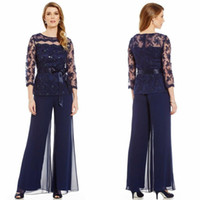 2017 Fashionable Mother Of Bride Pant Suit Long Sleeves Lace...
