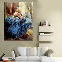 Испанский Танцоры Скрипка, Handcraft Современные Аннотация Фламенко синяя юбка Dancer декора стены искусства картина маслом на холсте качества Мульти размеры Ab017