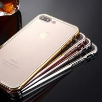 Гибридный металлический корпус для iPhone 4S Алюминиевый бампер Бампер Бампер Мягкий прозрачный кристалл ПК Назад Ясное покрытие крышки для iPhone7 Plus