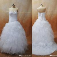 2017 бальное платье Ruffled Реальные Свадебные платья 2016 Милая декольте Ruched суд Поезд Свадебные платья Реальные изображения