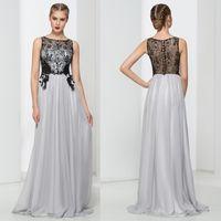 Modern Illusion Back A- Line Evening Dresses Chiffon Custom M...