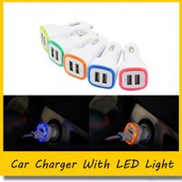 New Dual USB car charger LED light up car Adapter double usb...