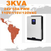 Горячее надувательство солнечного инвертора 3Kva 2400W с инвертора сетки 24V к инвертору PWM 120V 50A чистому гибридное 60A заряжателя AC волны синуса