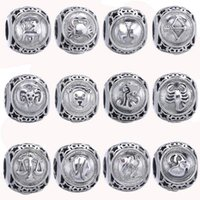100% 925 Sterling Silver European Charms Vintage 12 Constellations Charm Fit Pour Pandora Style Bracelets DIY Loose Charm