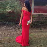 Красный Русалка Вечерние платья 2017 Sexy Elatsic Prom мантий Мантия De Soiree плеча Формальное Sweetheart Дешевые платья Вечерние