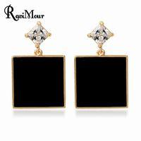 RAVIMOUR Women Earrings Fashion Jewelry Black Red Square Bri...