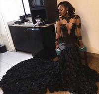 Каскадные оборки 2017 Sexy Black Lace Appliques платья выпускного вечера Mermaid Sheer Длинные рукава Illusion Лифы Вечерние платья Vintage Gowns