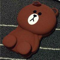 Cases Wholesales 3D Cute Brown Bear Cartoon Soft Silicone Ph...