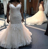 Spaghetti Straps Mermaid Wedding Dresses Lace Appliques Crys...