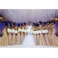 Плюс Размер Шампанское Золото невесты платья Русалка Длинные одно плечо драпированные Женщины Свадебные платья партии Дешевые 2017 года фрейлин Gowns