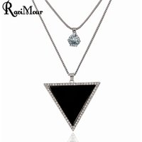 RAVIMOUR Long Necklaces for Women Fashion Jewelry Silver Cha...