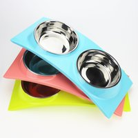 Stainless Steel Dog Food Bowls PP Plastic Pet Water Feeder F...