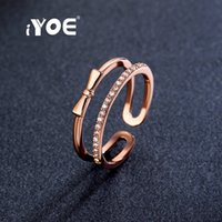Vente en gros - IYOE Rose Gold Color Open Shape Bow Rings Dernières rondes CZ Crystal Midi Knuckle Rings For Women