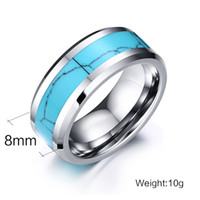 Fashion 8mm Wide Tungsten Steel Rings Turquoise Inlay Mariage Couple Ring Bijoux en pierres naturelles