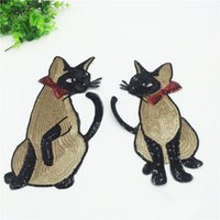 Cat Sequins Embroidery Patches Handmade Iron- On Adhesive Sti...