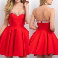 Cute Red Satin Strapless Girls Short Prom Dresses Formal Eve...