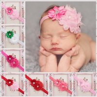2017 infant pearl stretch headbands girl floral diamond head...