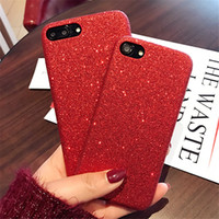 Housse en cuir rouge de luxe Bling Glitter pour iPhone 7 6 6S Plus 7Plus Ultra mince Slim Soft Silicone Sparkling Shiny Flash Powder Phone Cover