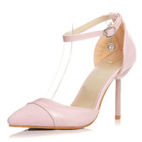 Pink pumps with high stiletto heel and pointed toe elegant w...